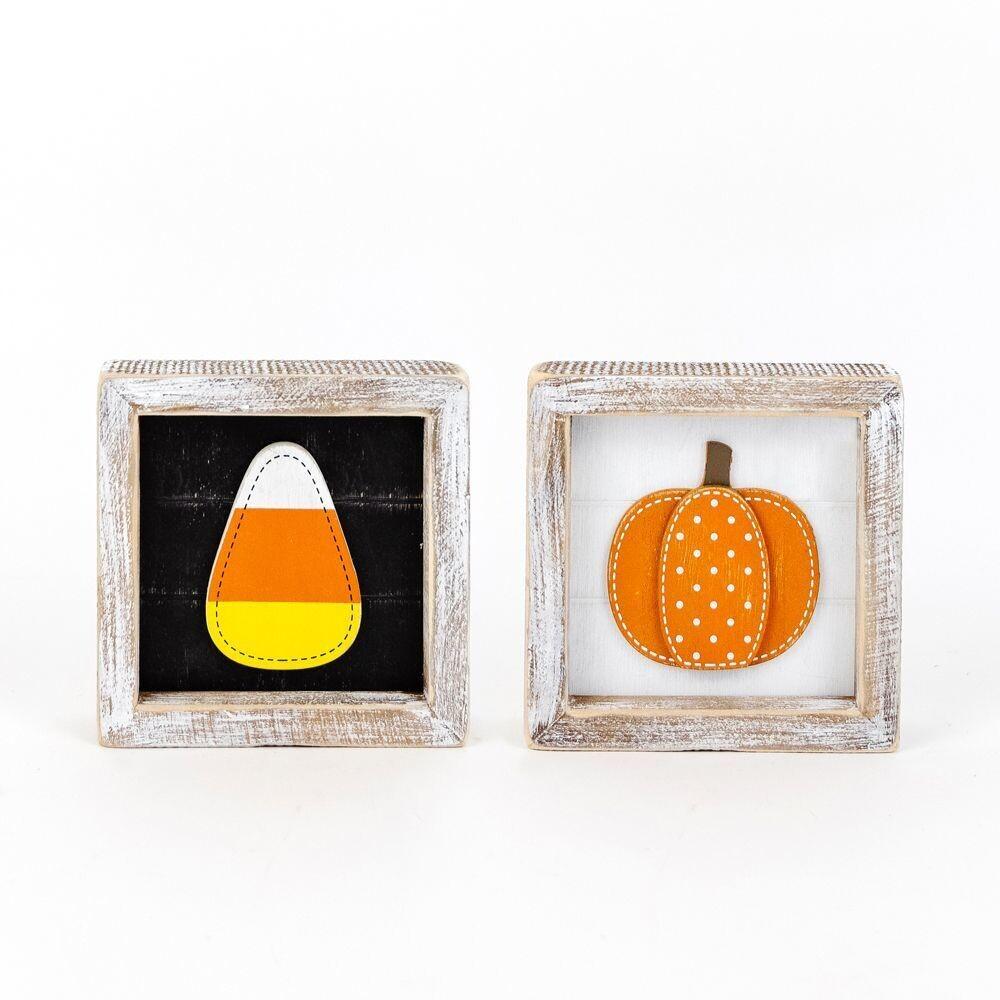 Pumpkin/Candy Corn Reversible Framed Sign