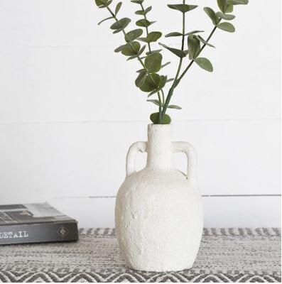 """7"""" Textured White Handled Vase"""