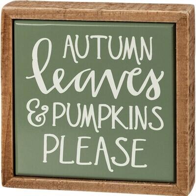 Autumn Leaves Mini Box Sign