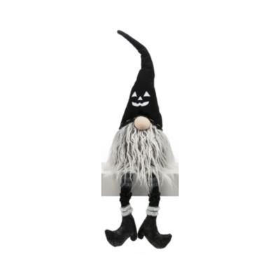 Sm Black Jack-o-lantern  Dangle Leg Gnome