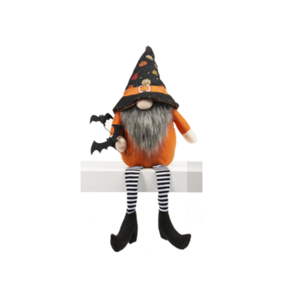 Lg Pumpkin Hat Bat Dangle Leg Gnome