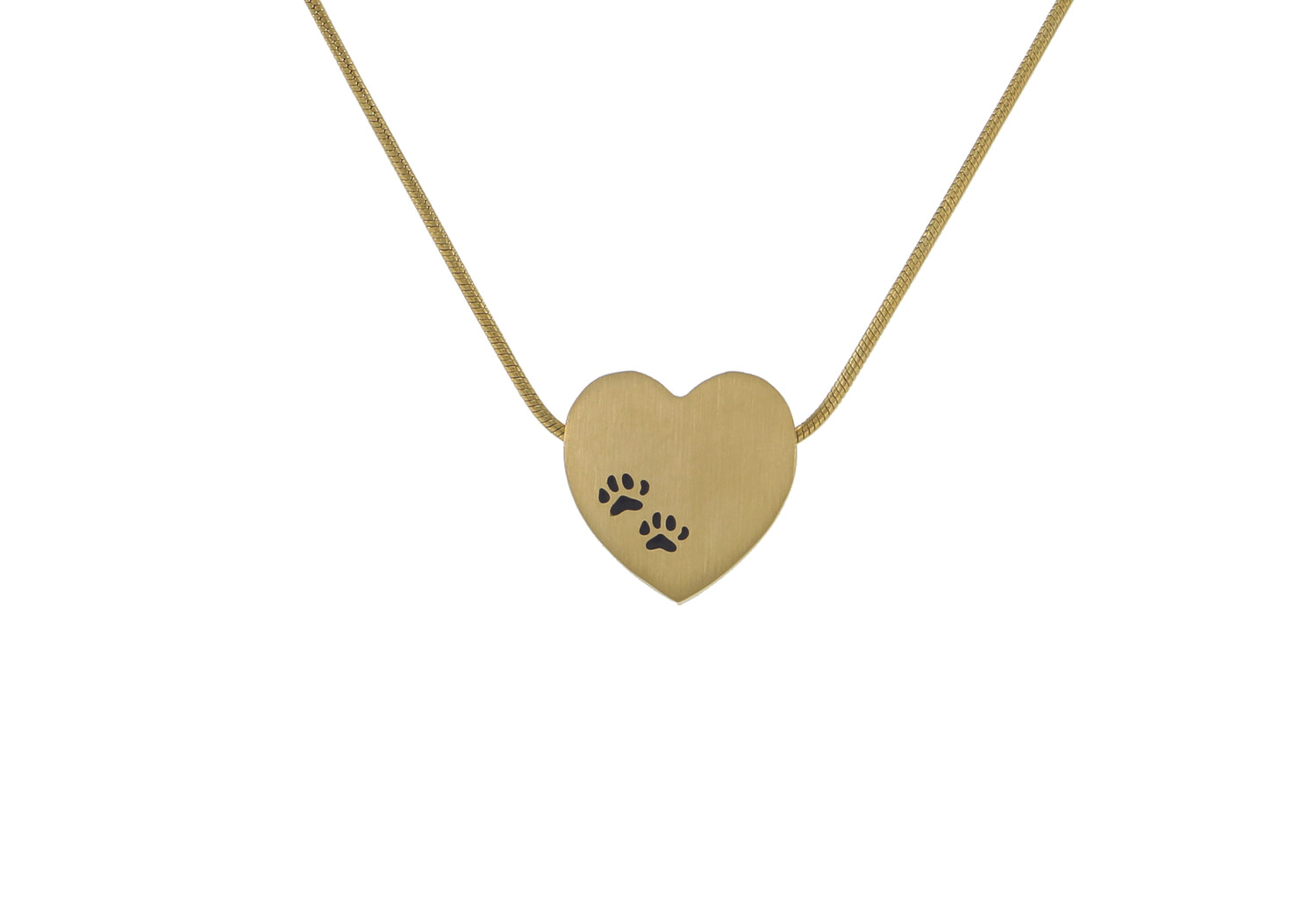 """Bronze Heart with Paw Prints - includes 19"""" chain"""