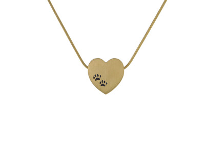 "Bronze Heart with Paw Prints - includes 19"" chain"
