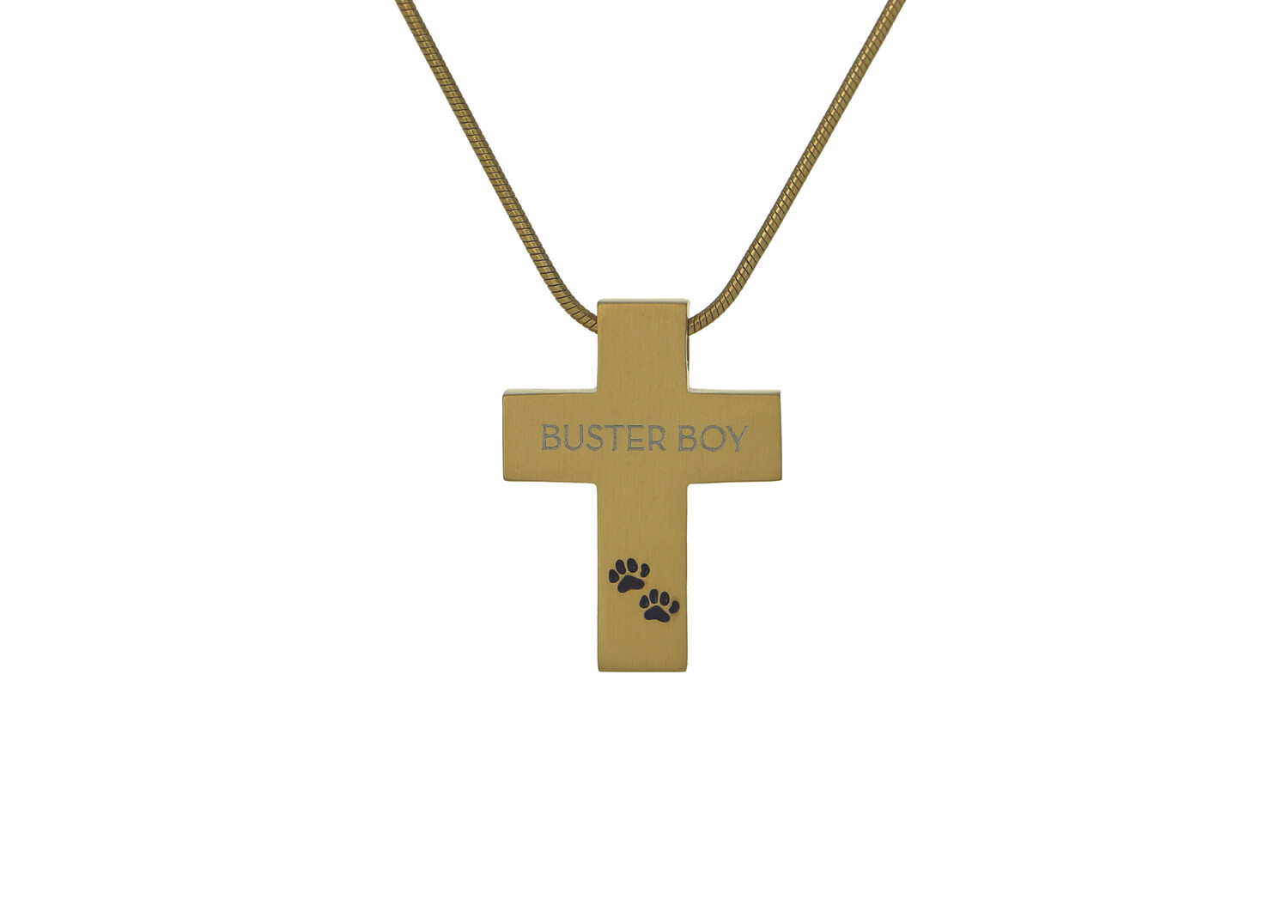 """Bronze Cross with Paw Prints - includes 19"""" chain"""