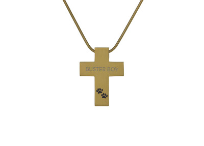 "Bronze Cross with Paw Prints - includes 19"" chain"