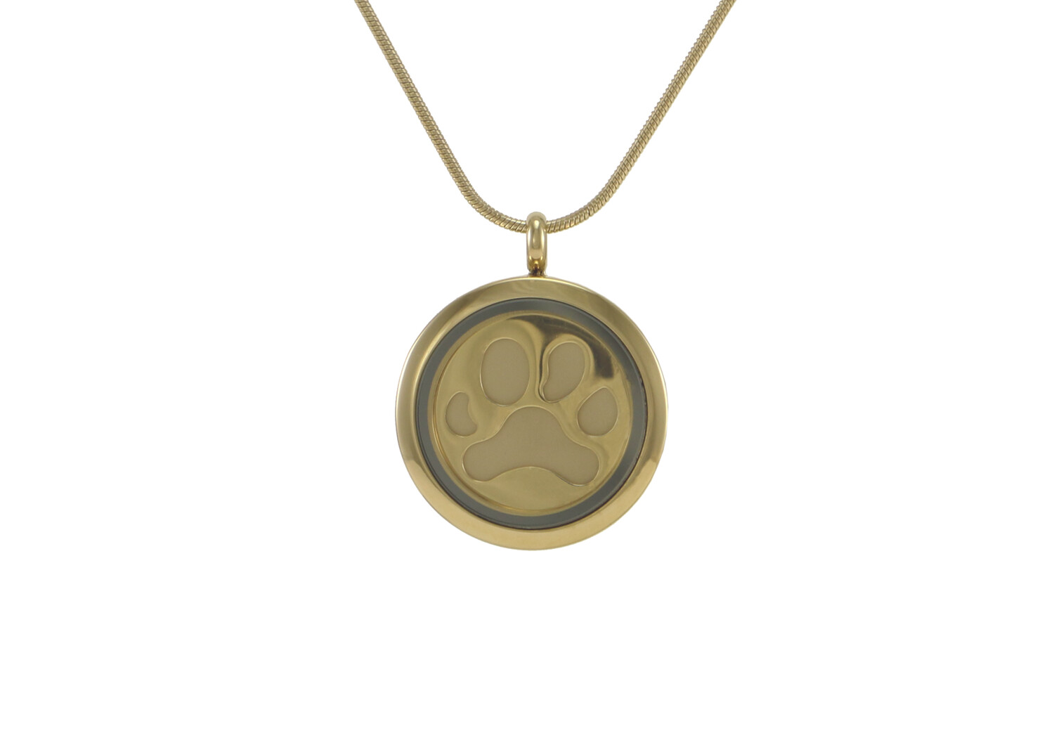 """Round Pendant Bronze with 2 inserts (bronze & pewter) Paw Print - includes 19"""" chain"""