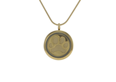 "Round Pendant Bronze with 2 inserts (bronze & pewter) Paw Print - includes 19"" chain"