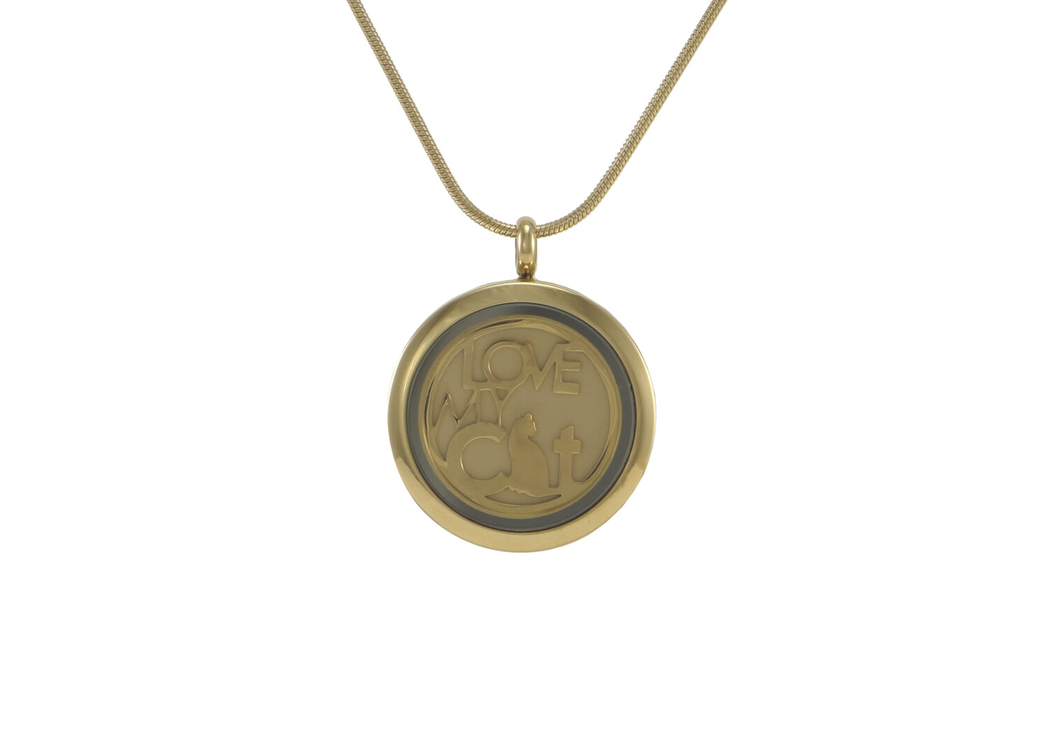 """Round Pendant Pewter with 2 inserts (bronze & pewter) Love My Cat - includes 19"""" chain"""