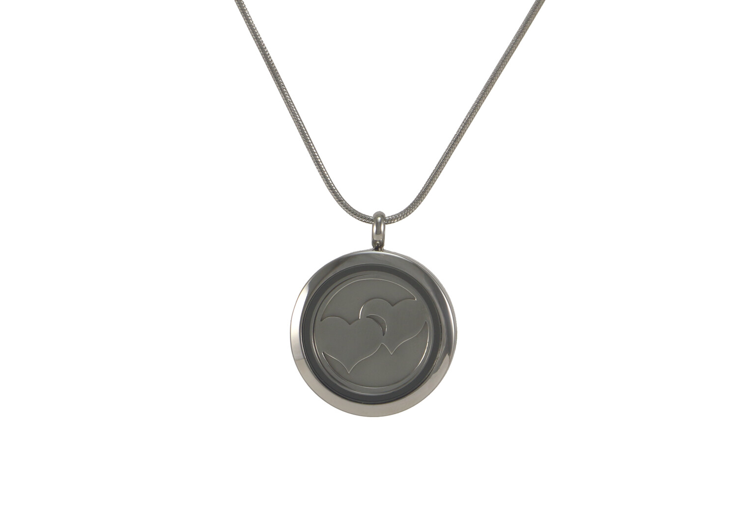 """Round Pendant with 2 inserts (bronze & pewter) Double Heart - includes 19"""" chain"""