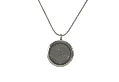 "Round Pendant with 2 inserts (bronze & pewter) Double Heart - includes 19"" chain"
