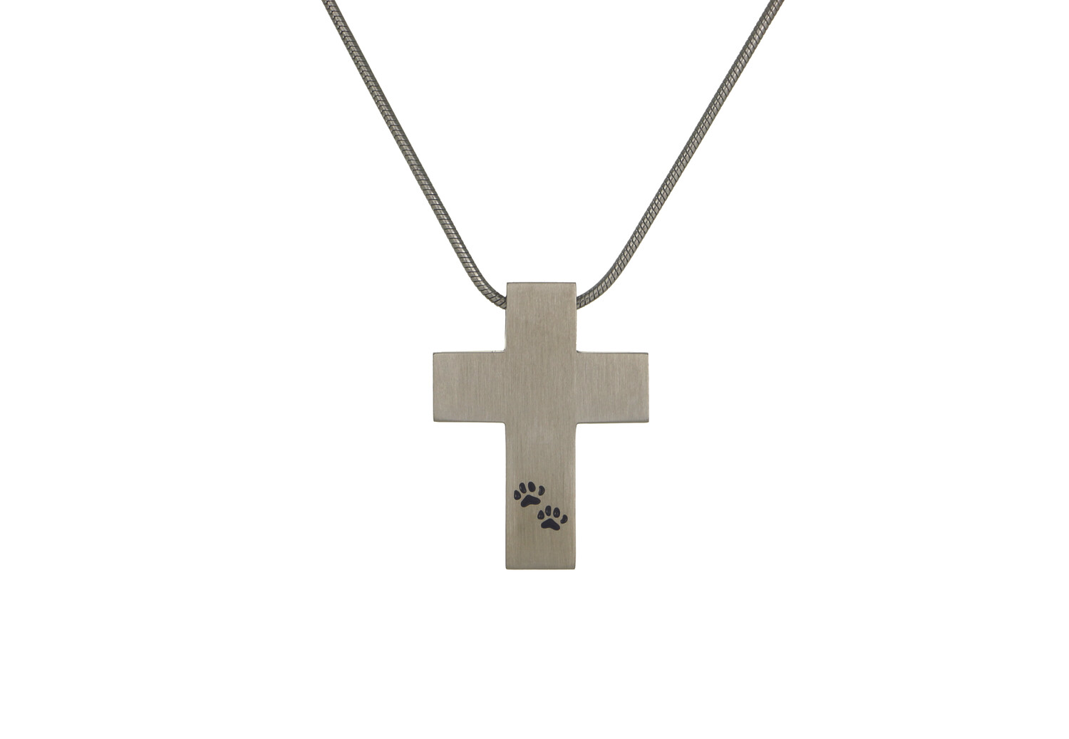 """Pewter Cross with Paw Prints - includes 19"""" chain"""
