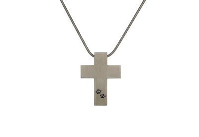 "Pewter Cross with Paw Prints - includes 19"" chain"