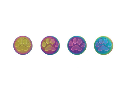 "Rainbow with Large Paw Print - includes 19"" chain"