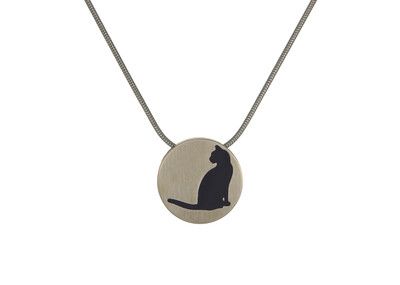 "Round Pendant Bronze with 2 inserts (bronze & pewter) Cat Silhouette - includes 19"" chain"