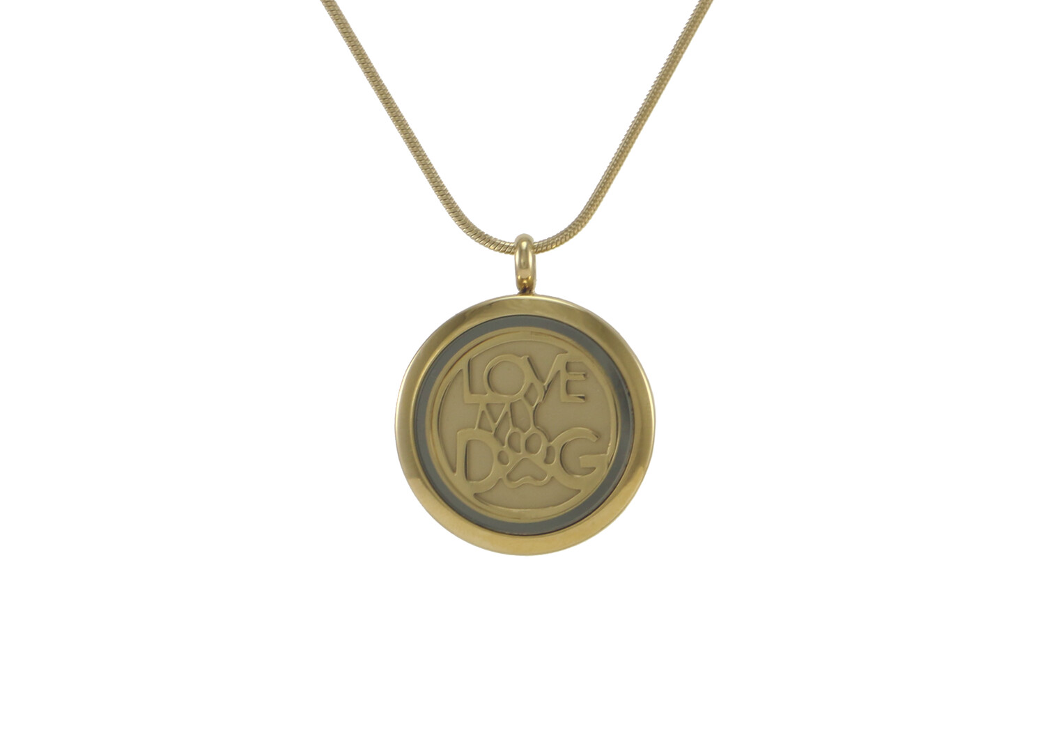 """Round Pendant Bronze with 2 inserts (bronze & pewter) Love My Dog - includes 19"""" chain"""