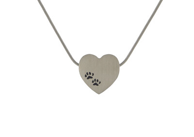 "Pewter Heart with Paw Prints - includes 19"" chain"