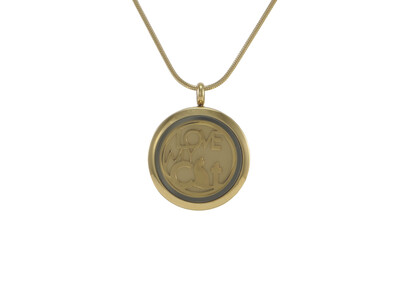 "Round Pendant Bronze with 2 inserts (bronze & pewter) Love My Cat - includes 19"" chain"