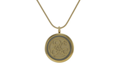 "Round Pendant Pewter with 2 inserts (bronze & pewter) Love My Dog - includes 19"" chain"