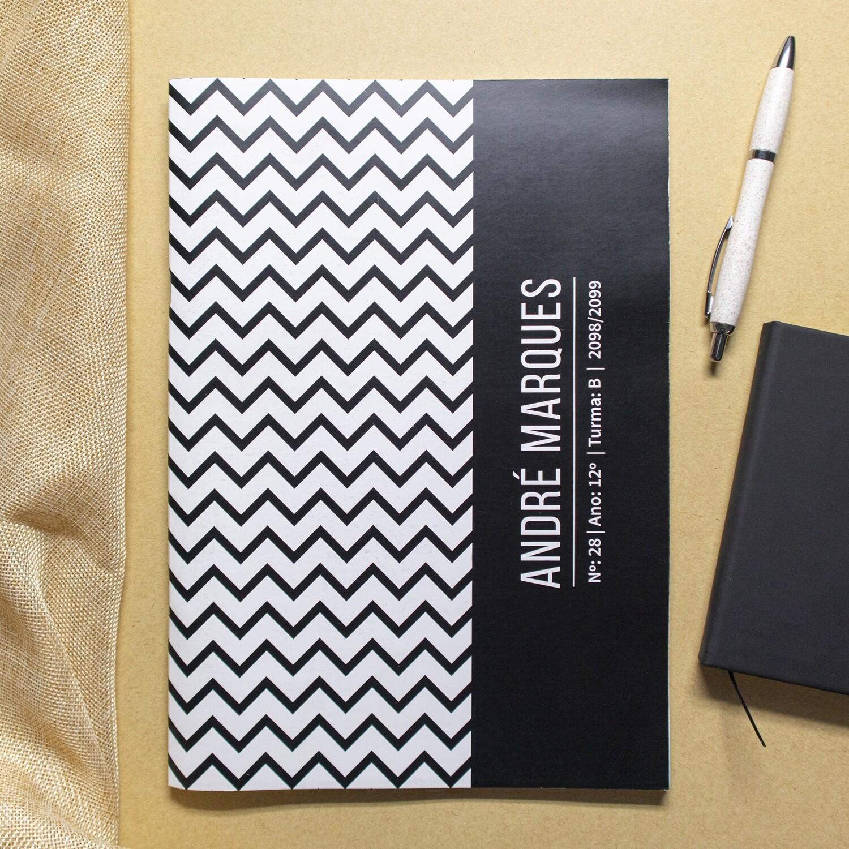 Caderno personalizável Zig Zag (preto e branco)