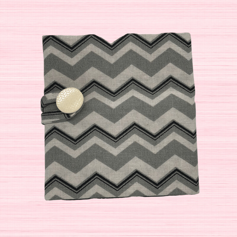 Tea Wallet - Grey Zig Zag Stripes