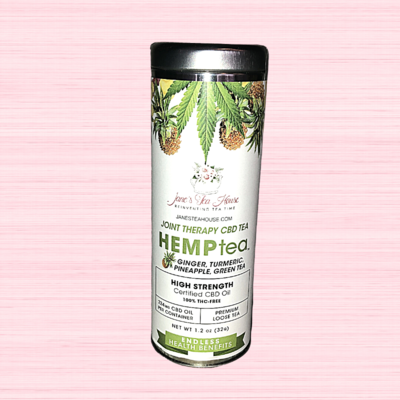 HEMPtea High Strength - Ginger, Tumeric, Pineapple, Green Tea - Tin (JOINT THERAPY)