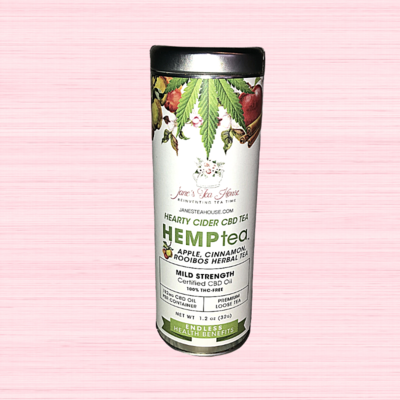 HEMPtea Mild Strength - Apple, Cinnamon, Rooibos Herbal Tea - Tin (CIDER)