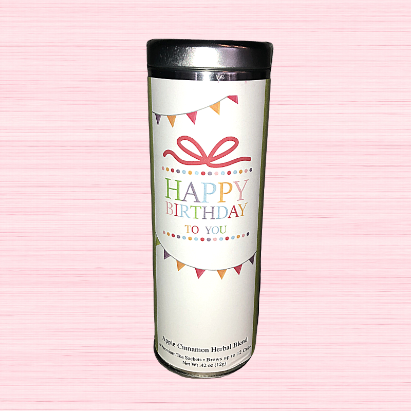 Occassion Tea Tin - Happy Birthday - Apple Cinnamon Herbal Blend