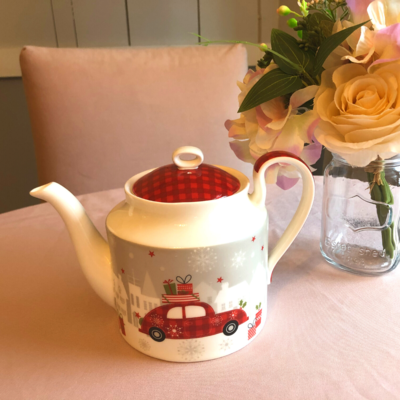 Christmas Tree and Car Bone China Teapot