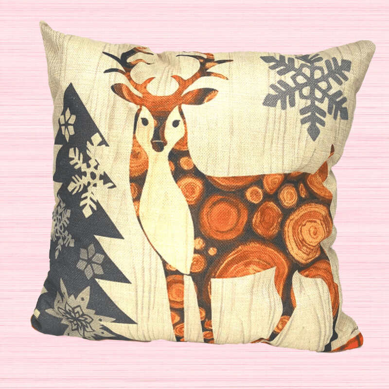 Deer Farmhouse Tree Holiday Pillow