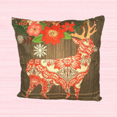 Deer Farmhouse Holiday Pillow