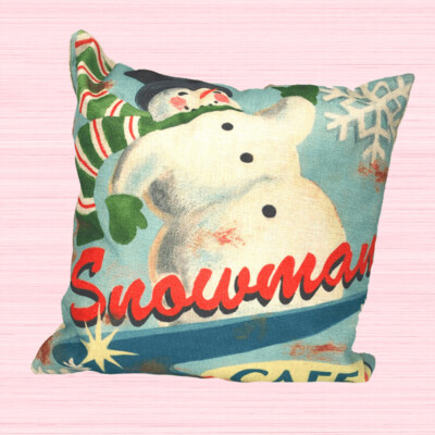 Snowman Cafe Holiday Pillow
