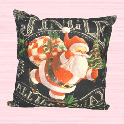 Jingle All The Way Santa Holiday Pillow