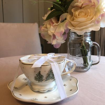Green Pine Tree Tea Cup & Saucer