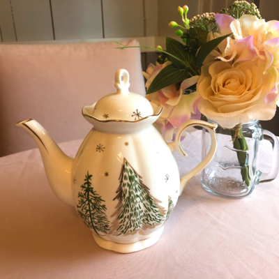 Green Pine Tree Tea Pot