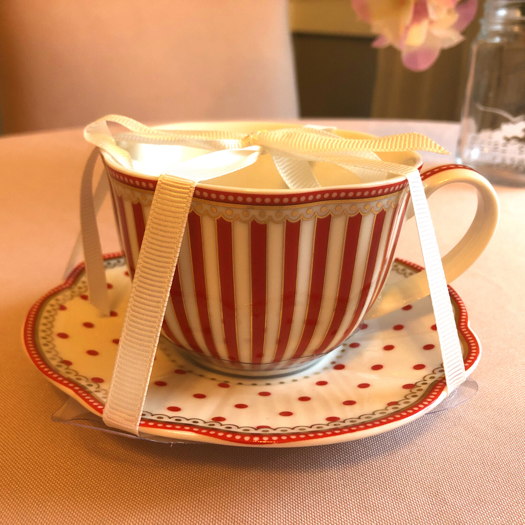 Red Stripes & Polka Dot Tea Cup & Saucer Set