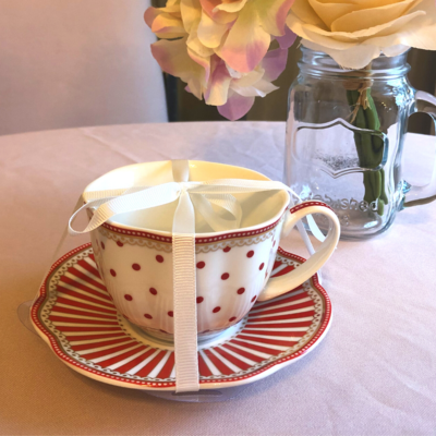 Red Polka Dot Tea Cup & Saucer Set