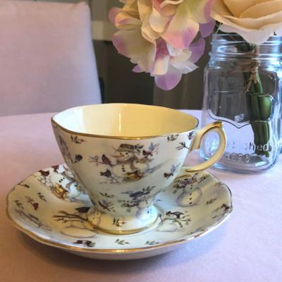 Snowman Tea Cup and Saucer