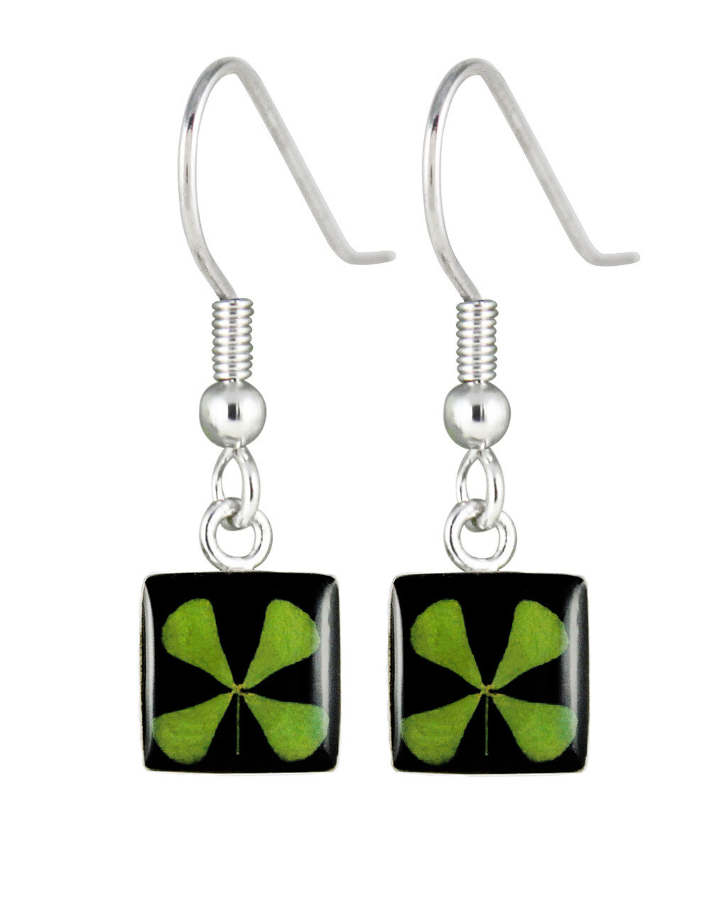 Four-Leaf Clover Square Hanging Earrings, Black Background.