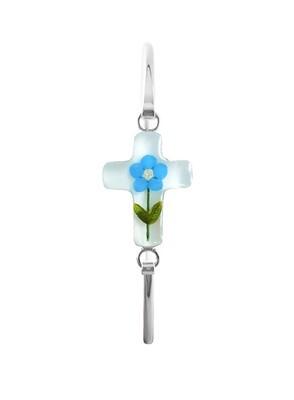 Forget-Me-Not, Cross Bracelet, White Background