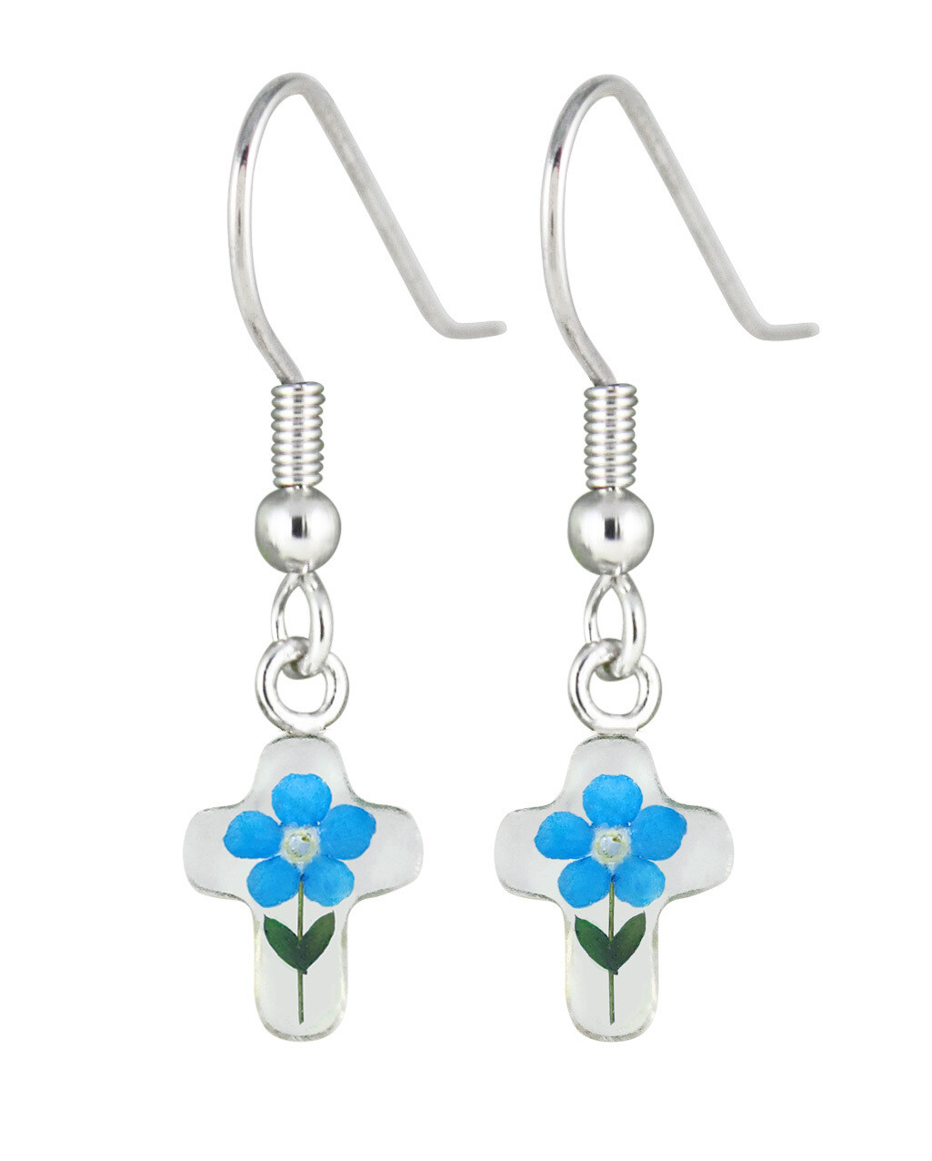 Real Forget-Me-Not Cross Earrings, White Background