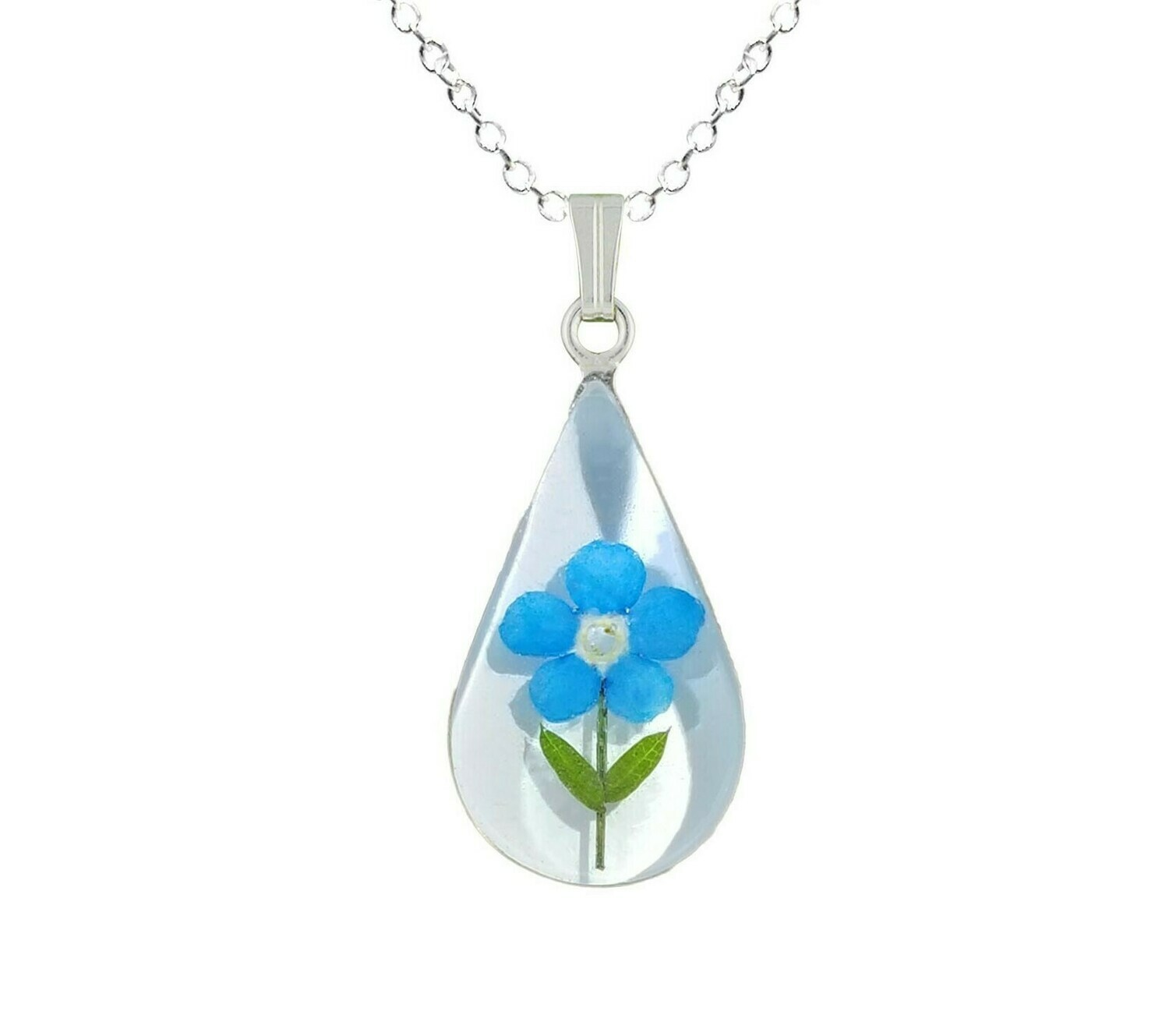 Forget-Me-Not Necklace, Medium Teardrop, White Background