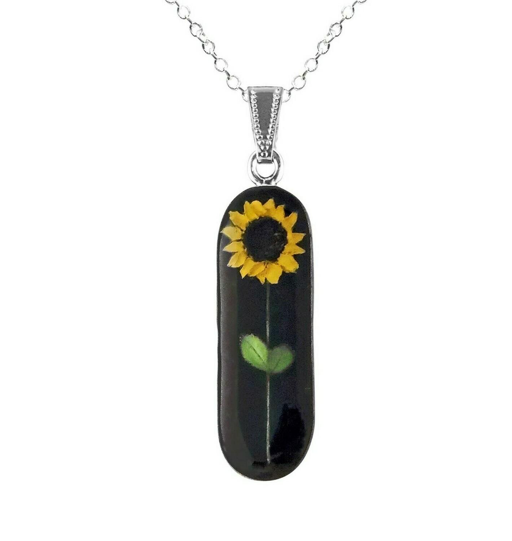 Sunflower Necklace, Long Oval, Black Background