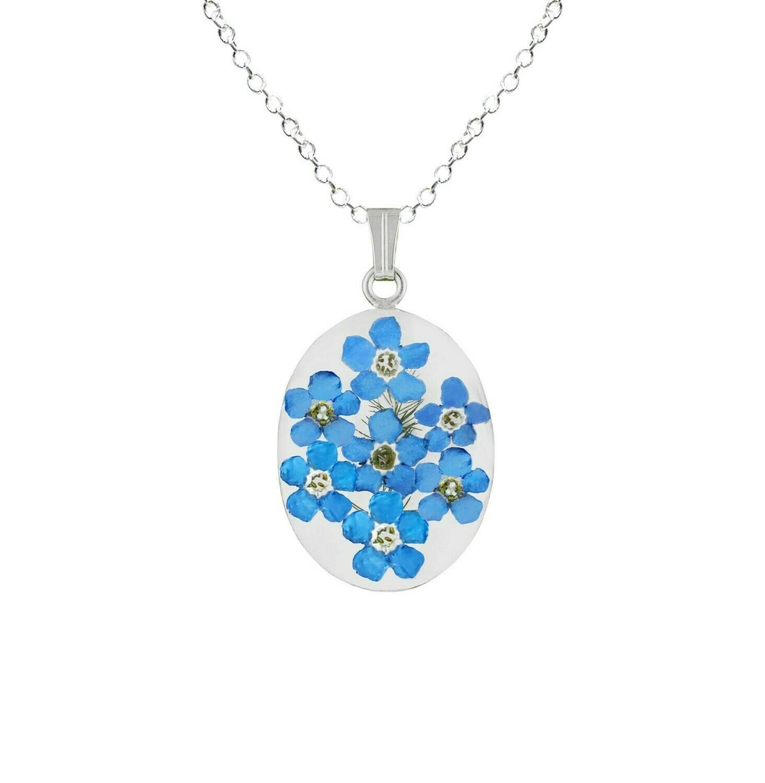 Forget-Me-Not Necklace, Medium Oval Pendant, Transparent
