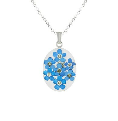 Forget-Me-Not Necklace, Medium Oval Pendant, Transparent