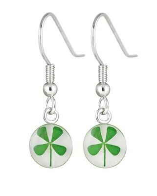 Four-Leaf Clover, Circle Hanging Earrings, White Background
