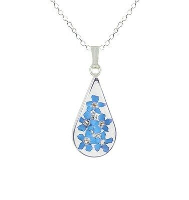 Forget-Me-Not Necklace, Teardrop, Transparent.