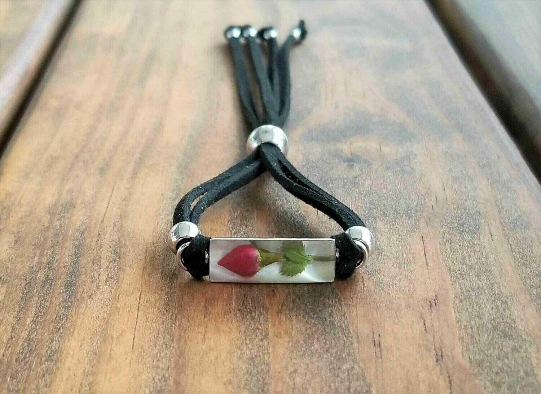 Rose Rectangle Leather Bracelet, White Background