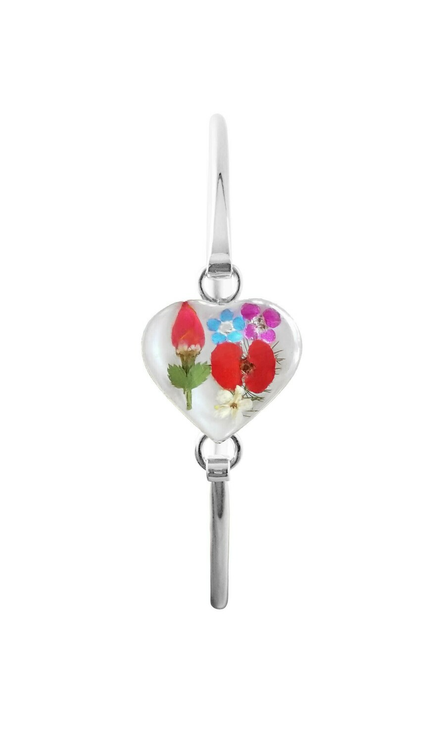 Rose & Mix Flowers, Medium Heart Bracelet , White Background.