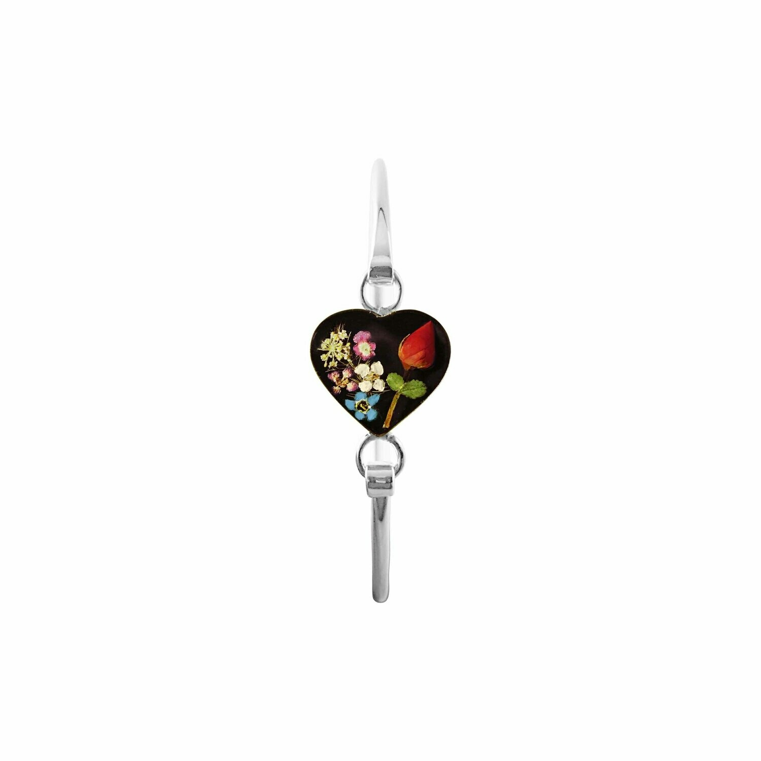 Rose & Mixed Flowers Heart Bracelet, Black Background.