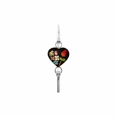 Rose & Mixed Flowers Heart Bracelet, Black Background.
